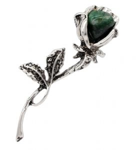 Ladies Natural  Aventurine Stone Flower Shaped Brooch / Pin
